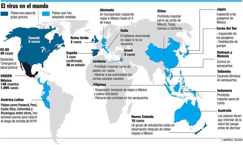 Gripe porcina en el mundo